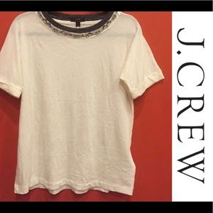 J Crew Top with crystal stones around collar